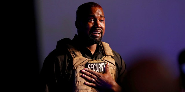 Rapper Kanye West gets emotional as he holds his first rally in support of his presidential bid in North Charleston, South Carolina on July 19, 2020. (REUTERS/Randall Hill - RC2OWH9PHLNF)