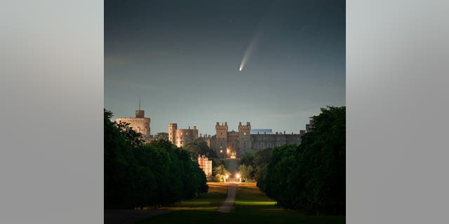 The amazing sight of the Comet NEOWISE above Windsor Castle. (Credit: SWNS)