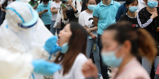 In this Friday, May 15, 2020 file photo, people line up for coronavirus testing at a large factory in Wuhan in central China's Hubei province. In June 2020, China reported using batch testing as part of a recent campaign to test all 11 million residents of Wuhan, the city where the virus first emerged late in late 2019.
