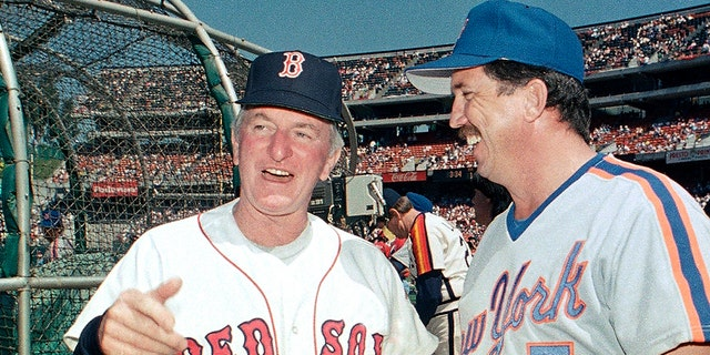 American League All-Star manager John McNamara, left, of the Boston Red Sox, chats with National League counterpart Davey Johnson, of the New York Mets, between workouts in preparation for the 1987 All-Star Game in iOakland, Calif., July 13, 1987. (Associated Press)<br> 