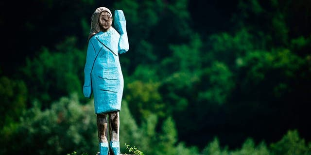 A wooden statue of first lady Melania Trump is seen near her hometown in Slovenia before it was damaged earlier this month.