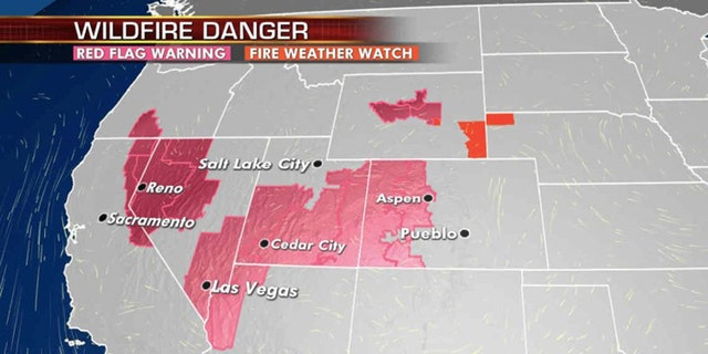 The danger for wildfires returns on Monday across the West.