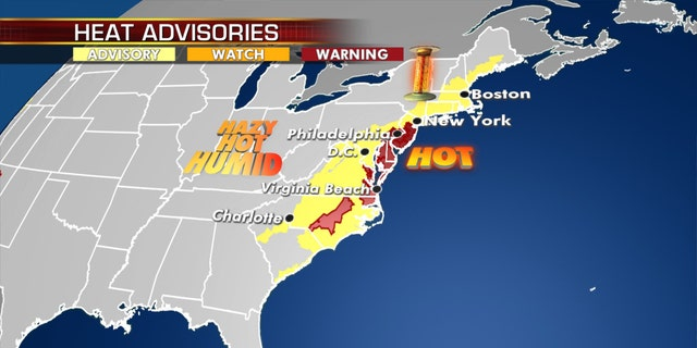 Heat advisories and excessive heat warnings stretch from North Carolina to New England on Monday, July 20, 2020.
