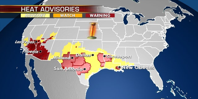 Heat warnings and advisories on Monday as an intense heat wave conditions.