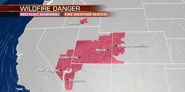 Red flag warnings stretch across the West on Monday.