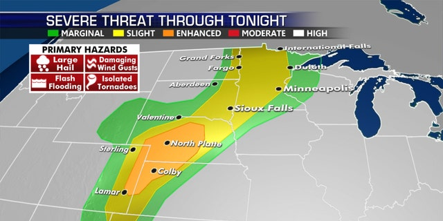 The severe weather threat for Monday, July 13, 2020.