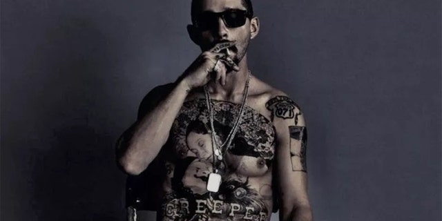 Shia LaBeouf tattooed his chest for 'The Tax Collector.'