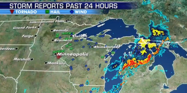 Storm reports across the Upper Midwest and Great Lakes after severe weather moved through the region on Saturday.