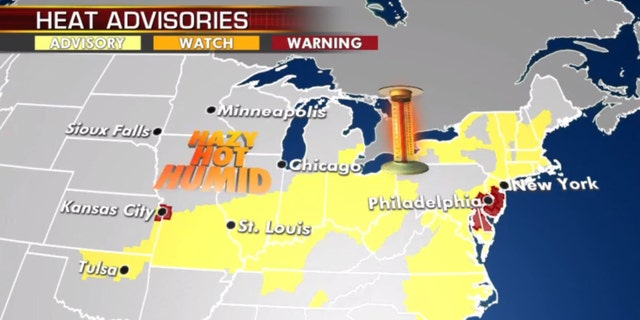 Heat advisories stretch from Oklahoma across the Midwest to parts of the Northeast.