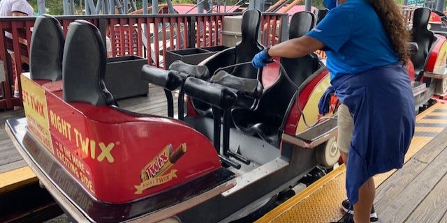 Each ride is sanitized in between ride cycles. Guests are allowed to ride with the people they came to the park with, but will be socially distanced from other guests.