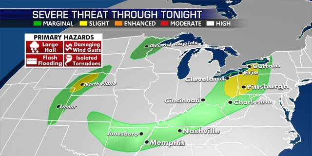 The threat for severe weather on July 16