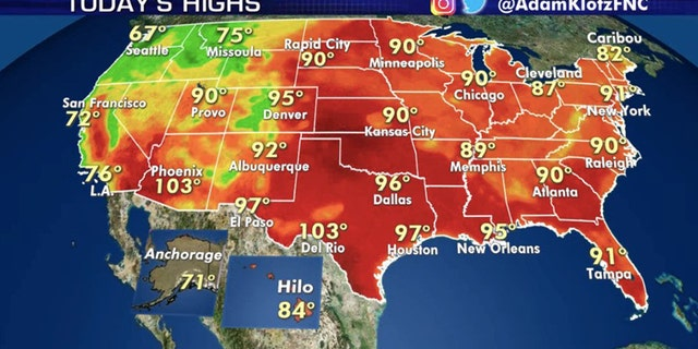 Hot weather reigns across much of the nation's midsection on Thursday.