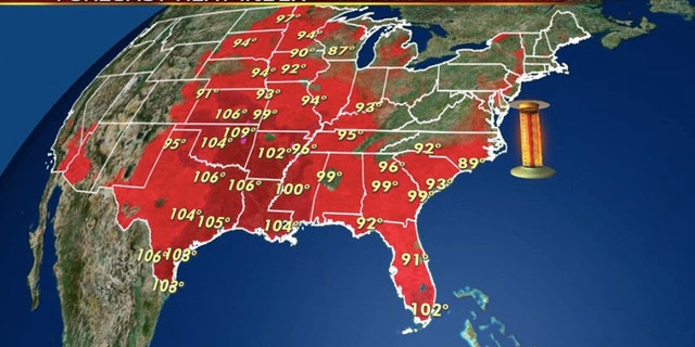 Dangerous heat is forecast on Thursday across much of the nation's midsection.