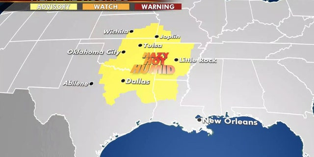 Heat advisories stretch across the Central and Southern Plains on Thursday.