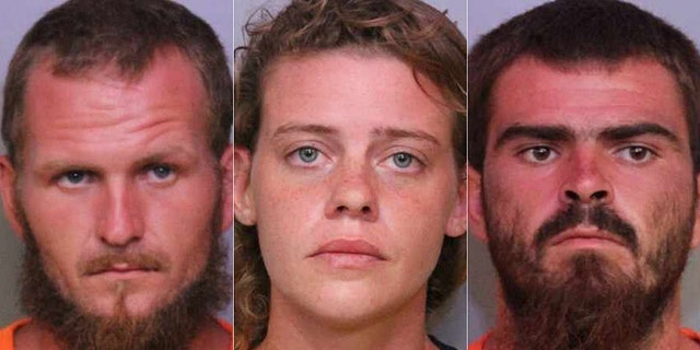 "Tony ""TJ"" Wiggins, 26, (left) was the alleged ringleader behind the ""massacre."" His girlfriend, Mary Whittemore, 27, (center) and his brother Robert Wiggins, 21, (right) have also been arrested. (Polk County Sheriff)"