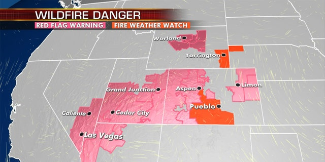 Elevated fire danger remains out West on Tuesday.