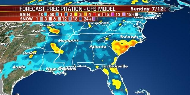 Scatted thunderstorms will also bring rain across the Southeast.