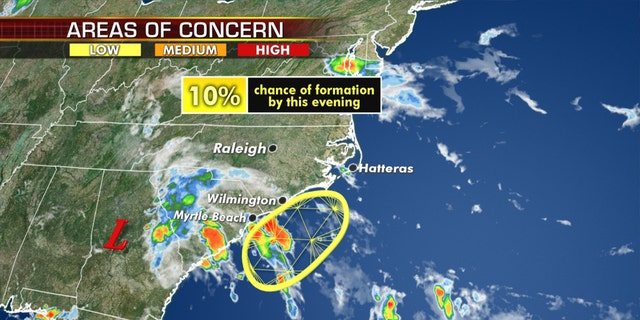 Forecasters are keeping their eye on a system that may develop off the Southeast coast.
