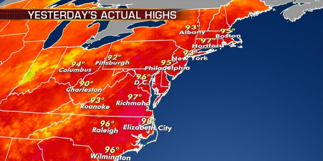 High temperatures on Monday across the East Coast as a heat wave bakes the region.