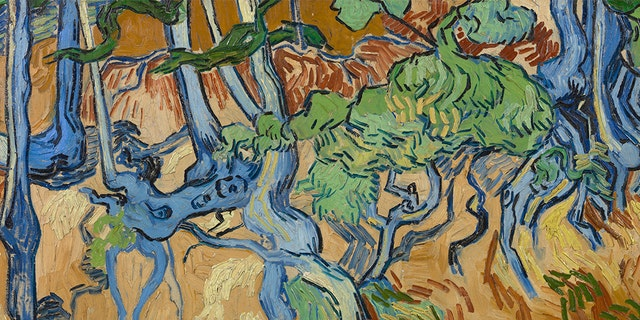 This image made available by the Van Gogh Museum shows Van Gogh's last painting: Tree Roots. Auvers-sur-Oise, 27 July 1890. (Van Gogh Museum via AP)