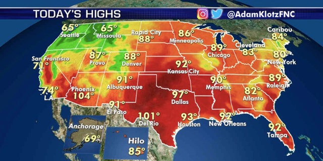 Dangerous heat will scorch the nation's midsection on Wednesday.