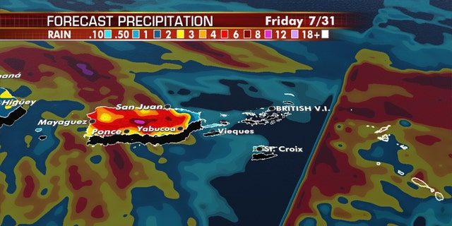 In Puerto Rico and the U.S. Virgin Islands, a few inches of rain is possible, causing the threat of flash floods and mud skis.