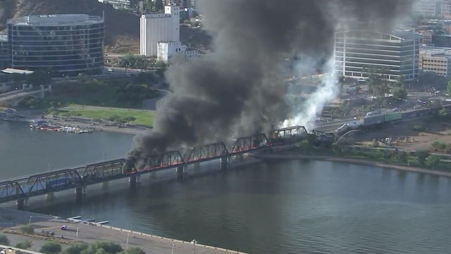 Arizona bridge burns, partially collapses after train derailment near Tempe Town Lake