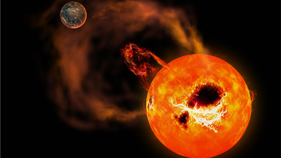 Spectacular solar scene: Burst of radiation erupts from sun