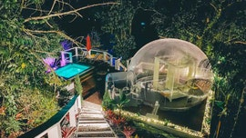 Bubble house has nature views and movies under the stars, pictures reveal