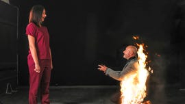 Stunt actor proposes while on fire: 'She was so shocked'