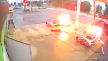 Car crashes into New Jersey gas station, igniting fuel pumps, video shows