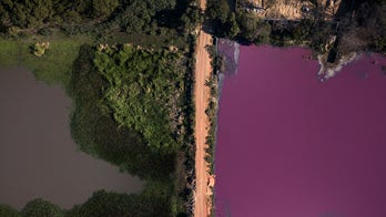 Scientists puzzled after Paraguayan lagoon turns purple on one side, remains blue on other
