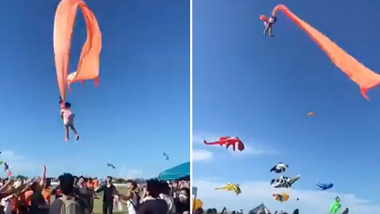Taiwan toddler entangled in kite tail goes airborne at festival, video shows