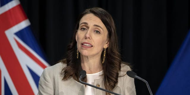 New Zealand Prime Minister Jacinda Ardern reacts during a press conference in Wellington, New Zealand, Aug. 14. Ardern announced that the three-day lockdown in Auckland would be extended by another 12 days at level 3, the rest of New Zealand will stay at level 2 restrictions as health authorities investigate the source of the first domestic coronavirus outbreak in more than three months. (Mark Mitchell/New Zealand Herald via AP)