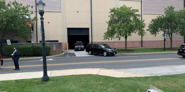 A motorcade holding former Vice President Joe Biden departs the Chase Center in Wilmington, DE on Aug. 7.