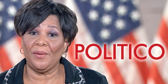 In this image from video, Alice Johnson speaks from Washington, during the fourth night of the Republican National Convention on Aug. 27. (Courtesy of the Committee on Arrangements for the 2020 Republican National Committee via AP)