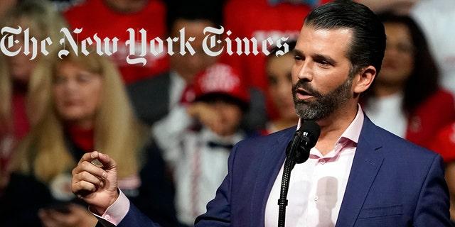 "Donald Trump Jr. mocked the left after The New York Times ran an op-ed calling to ""scrap"" presidential debates. (AP Photo/Rick Scuteri, File)"