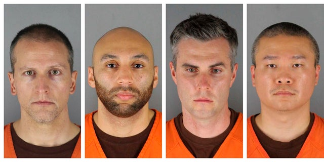 This combination of file photos provided by the Hennepin County Sheriff's Office in Minnesota on June 3, shows Derek Chauvin, from left, J. Alexander Kueng, Thomas Lane and Tou Thao. (Hennepin County Sheriff's Office via AP)
