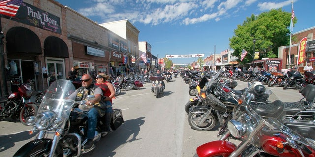 Thousands of bikers rode through the streets for the opening day of the 80th annual Sturgis Motorcycle rally Aug. 7 in Sturgis, S.D. (AP Photo/Stephen Groves)