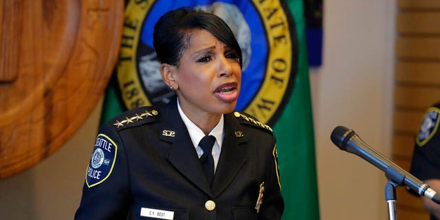 Seattle Police Chief Carmen Best announces her resignation Tuesday.  (Photo by AP / Ted S. Warren)