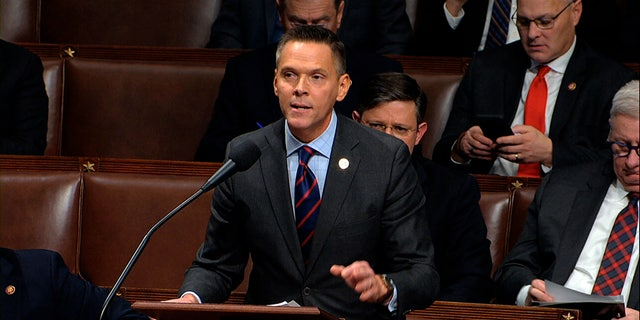 FILE- In this Dec. 18, 2019, file photo, Rep. Ross Spano, R-Fla., speaks as the House of Representatives debates the articles of impeachment against President Donald Trump at the Capitol in Washington. (House Television via AP)