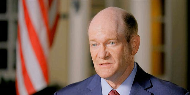 In this image from video, Sen. Chris Coons, D-Del., delivers a nominating speech during the second night of the Democratic National Convention on Tuesday, Aug. 18, 2020. (Democratic National Convention via AP)
