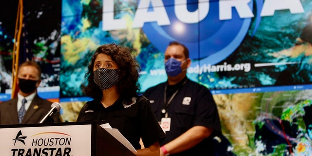 Métis - Judge Lina Hidalgo emphasized that Laura should not be compared to past hurricanes like Harvey while addressing the media from Houston Transtar on Monday, Aug. 24, 2020. (Hadley Chittum /Houston Chronicle via AP)