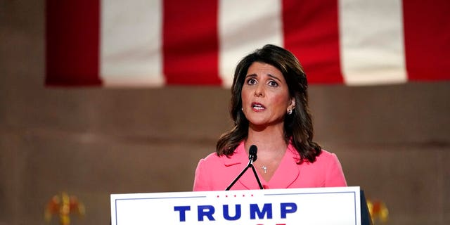 Haley speaks during the Republican National Convention from the Andrew W. Mellon Auditorium in Washington, D.C., Monday, Aug. 24, 2020. (AP Photo/Susan Walsh)