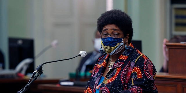 CaliforniaAssemblywoman Shirley Weber, D-San Diego, calls on lawmakers to create a task force to study and develop reparation proposals for African-Americans, during an Assembly session in Sacramento, June 11, 2020. (Associated Press)