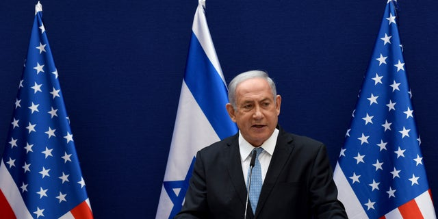 Netanyahu and White House adviser Jared Kushner make statements to the press about the Israeli-United Arab Emirates peace accords, in Jerusalem, Sunday, Aug. 30, 2020. (Debbie Hill/Pool Photo via AP)