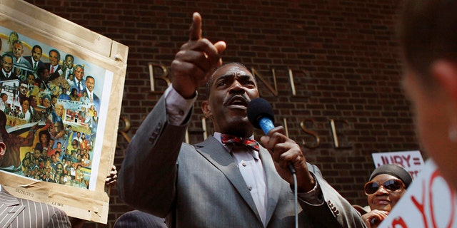 "In this July 20, 2013 file photo, Minister Rodney Muhammad speaks to the crowd during the ""Justice for Trayvon"" rally, outside the federal courthouse in Philadelphia. (AP Photo/ Joseph Kaczmarek, File)"