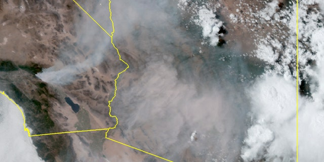 Smoke from the Apple Fire in Southern California can be seen spreading over western Arizona.