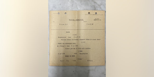 One of the telegrams detailing the Bismarck's sinking.