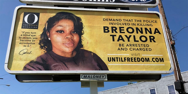 A billboard sponsored by O, The Oprah Magazine, is on display with a photo of Breonna Taylor, Friday, Aug. 7, 2020 in Louisville. (AP)